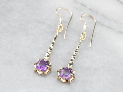 Vintage Amethyst Gold Bar Drop Earrings