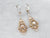 Old Mine Cut Diamond Ornate Gold Drop Earrings