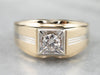Vintage Diamond Two Tone Gold Men's Ring