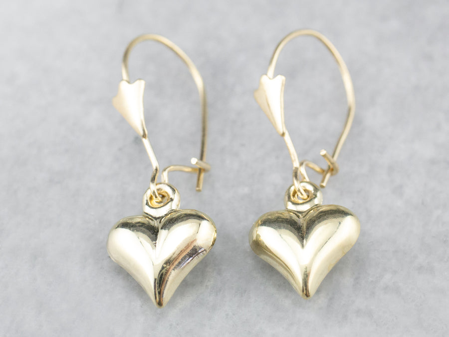Simple 14K Gold Heart Drop Earrings
