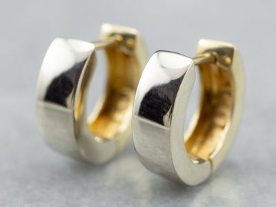 Two Tone Gold Hoop Earrings