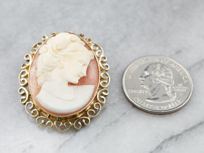 Gold Mid Century Cameo Pin or Pedant