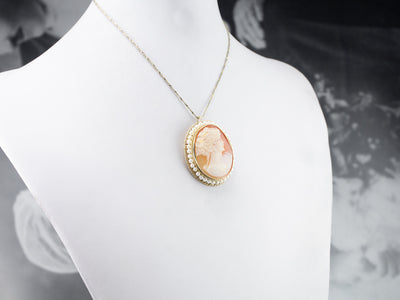 Vintage Cameo and Pearl Brooch or Pendant