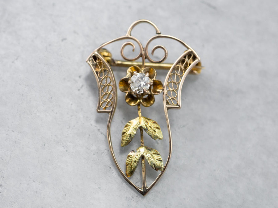 Antique Old Mine Cut Diamond Buttercup Pin