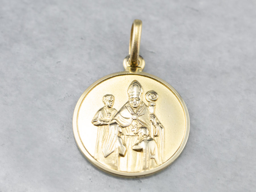 Gold Bishop Religious Pendant