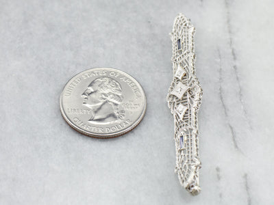 Art Deco Diamond Filigree Brooch