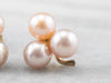 Pink Pearl Clover Gold Stud Earrings