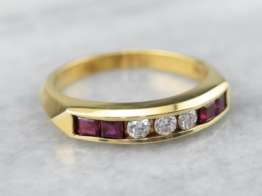 18K Gold Ruby and Diamond Band