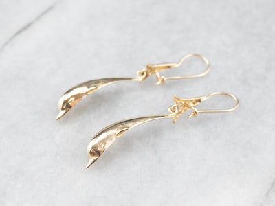Gold Dolphin Drop Earrings