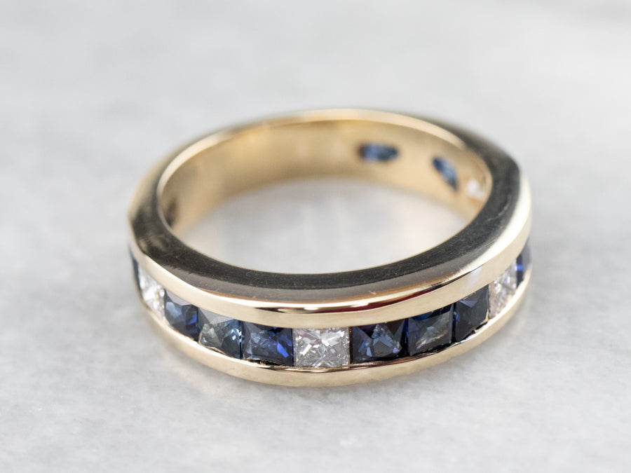 Gold Sapphire and Diamond Band