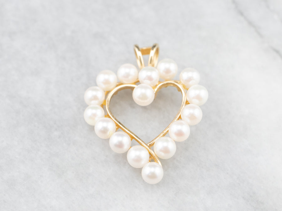 Gold Pearl Heart Halo Pendant
