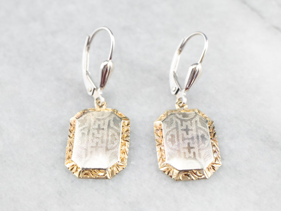 Etched Two Tone Gold Drop Earrings