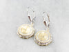 Two Tone Gold Cufflink Drop Earrings