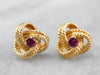 Ruby Twisted Knot Gold Stud Earrings