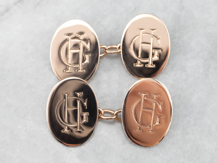 "Antique ""HG"" Monogram Rose Gold Cufflinks"