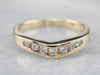 Curved Channel Set Diamond Gold Wedding Band