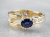 Asymmetrical Modernist Sapphire Diamond Gold Ring