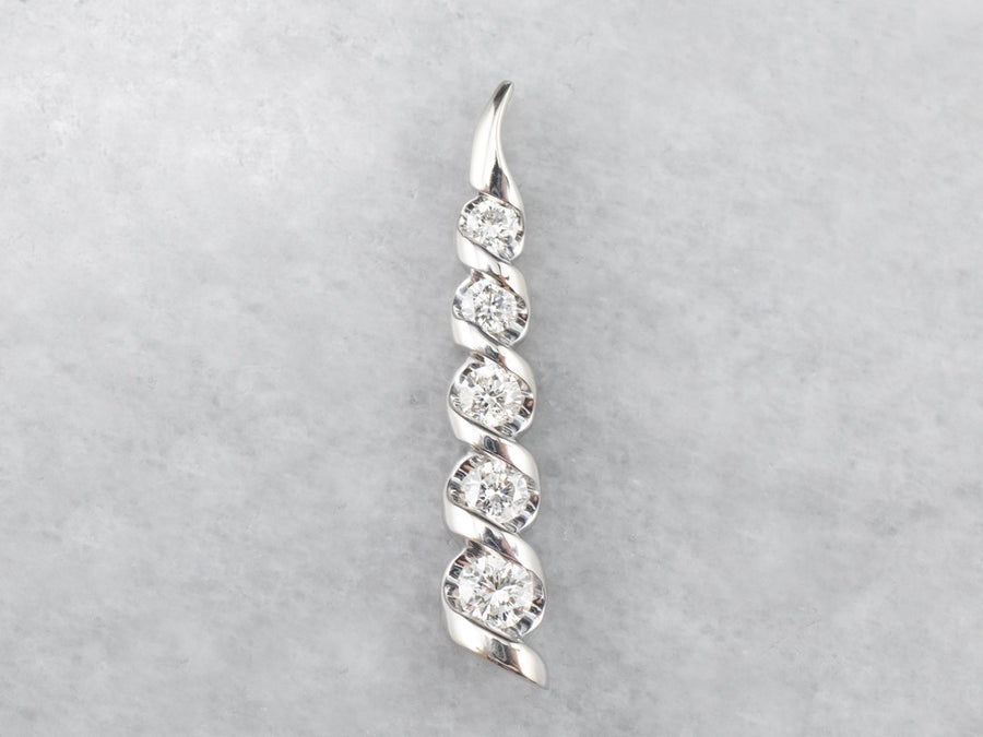 Graduated Diamond White Gold Twisted Bar Pendant