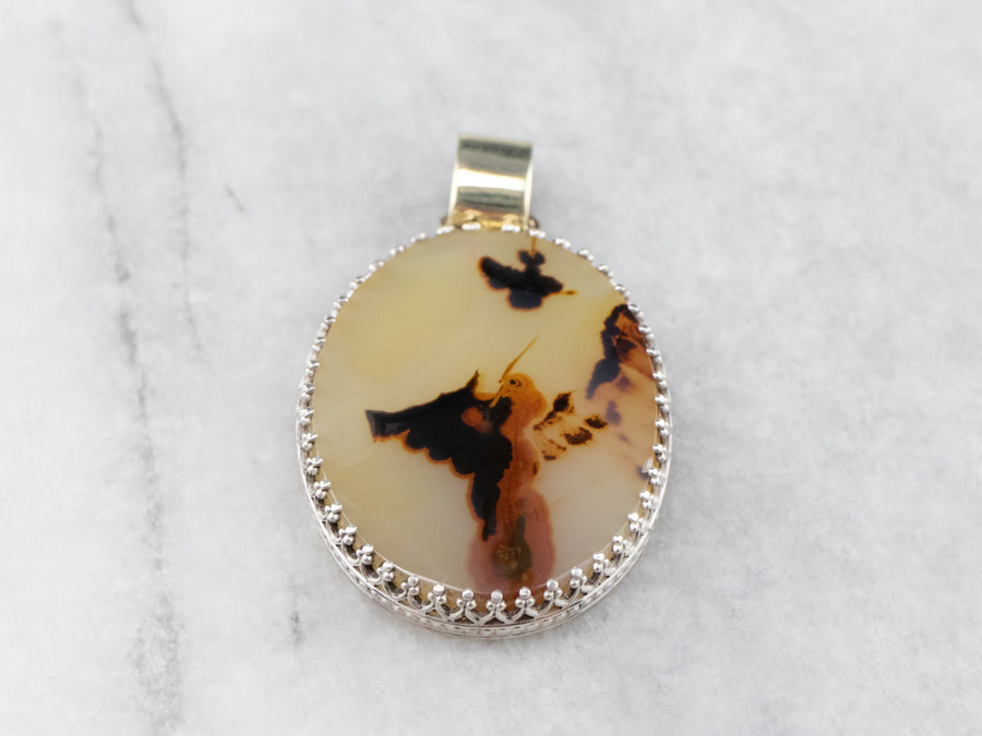 Mixed Metal Dendritic Agate Pendant