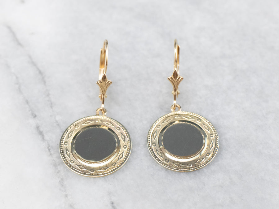 Retrofitted 14K Gold Cufflink Drop Earrings