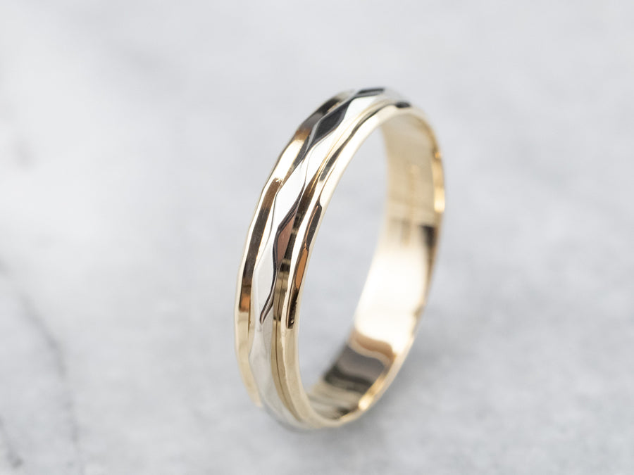 Unisex 14K Gold Faceted Band