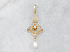 Antique Diamond Pearl Gold Lavalier Pendant