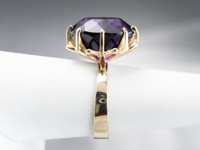 Oval Cut Amethyst Gold Cocktail Ring