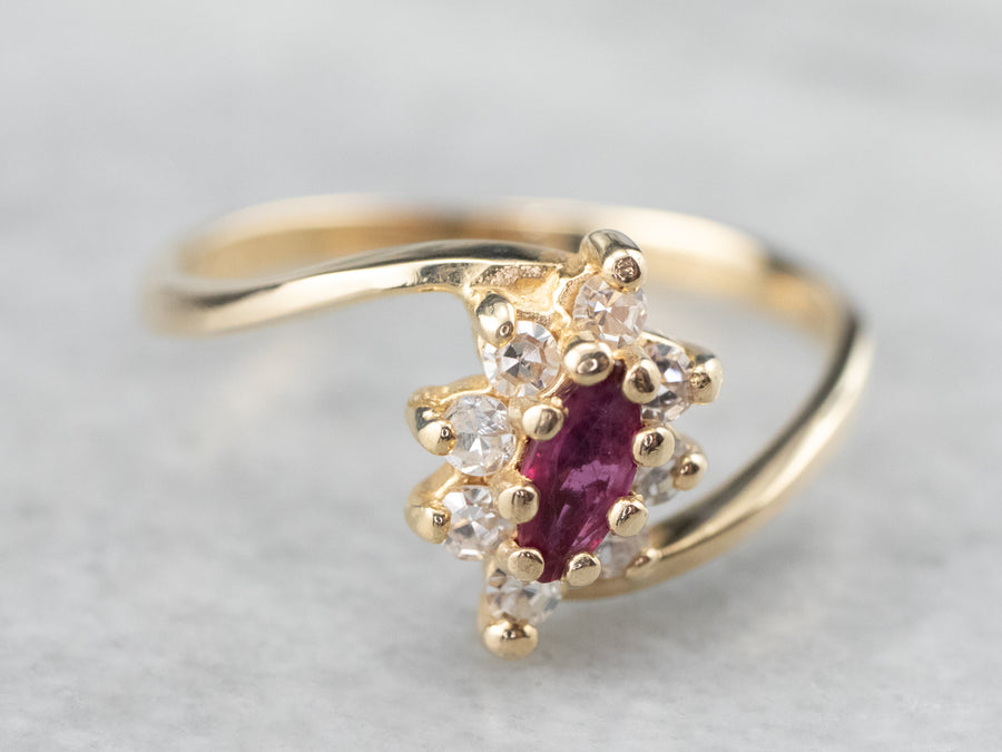 Marquise Ruby Diamond Halo Gold Ring