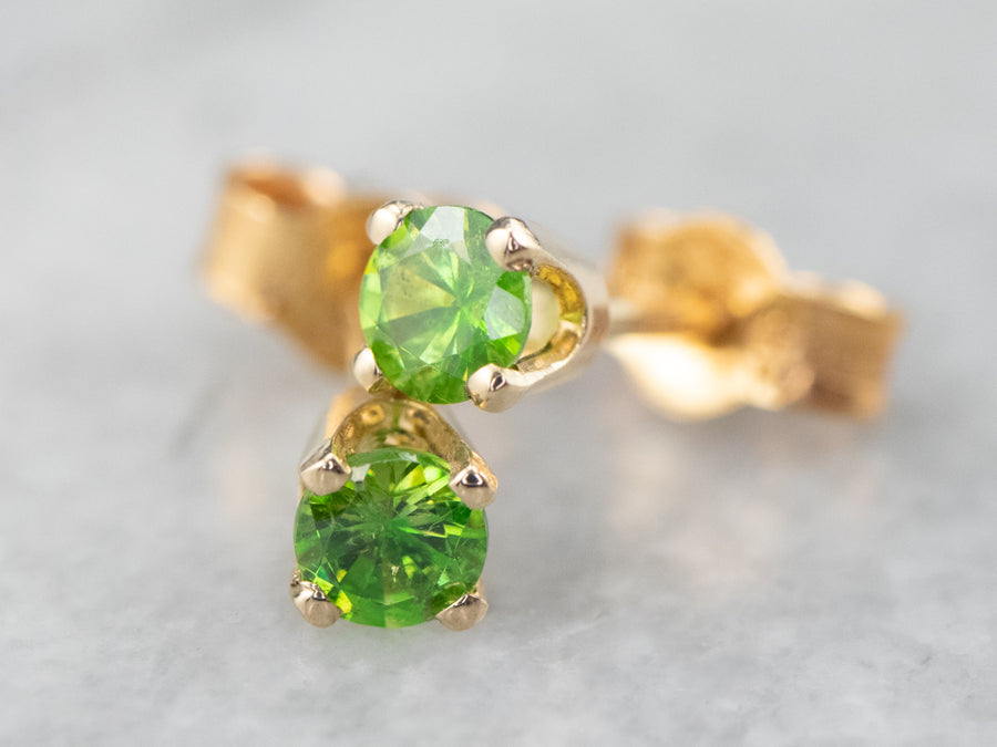 Demantoid Garnet Gold Stud Earrings