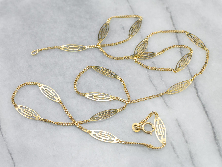 18K Gold Filigree Link Chain Necklace