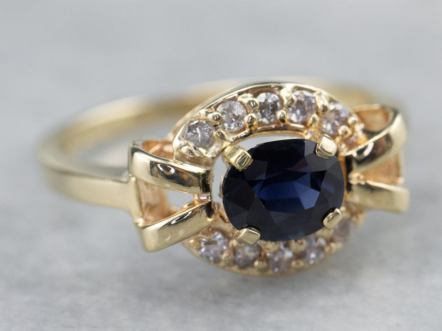 East to West Sapphire Diamond Halo Gold Ring