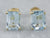 Emerald Cut Blue Topaz Gold Stud Earrings
