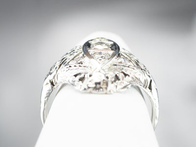 Floral Art Deco Diamond Dinner Ring