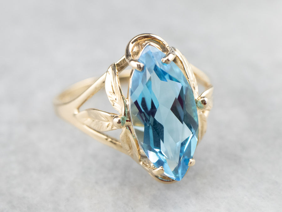 Marquise Swiss Blue Topaz Solitaire Ring