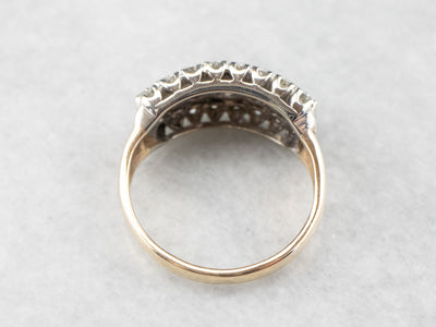 Two Tone Gold Diamond Cocktail Ring