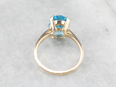 Yellow Gold Blue Topaz Cocktail Ring