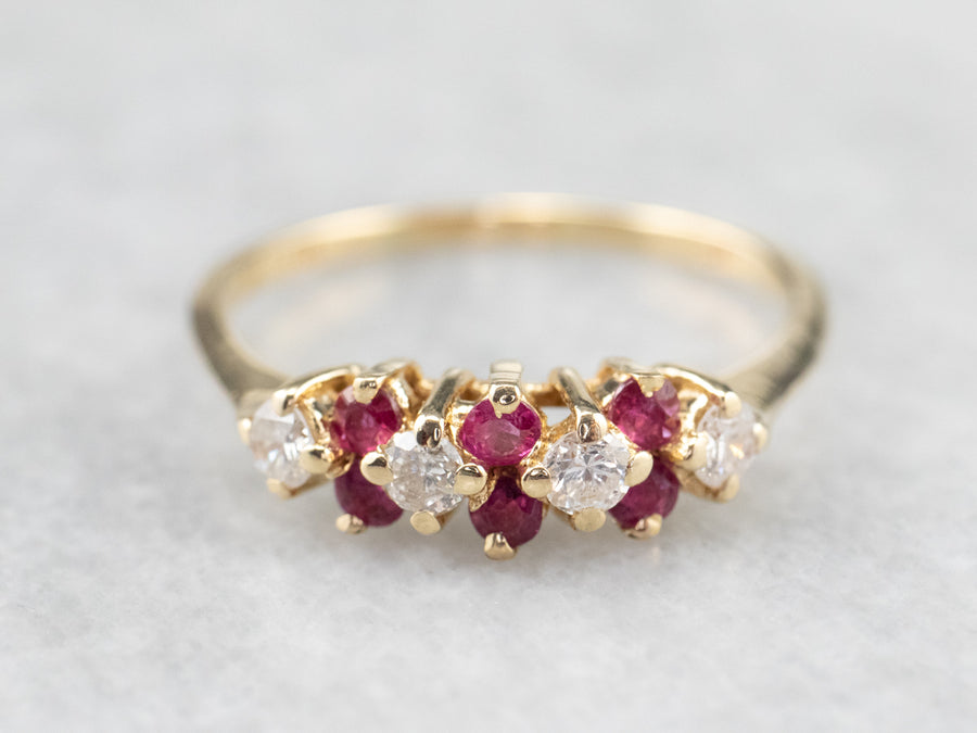Vintage Gold Diamond and Ruby Band