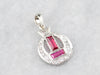 Art Deco Synthetic Ruby and Diamond Pendant