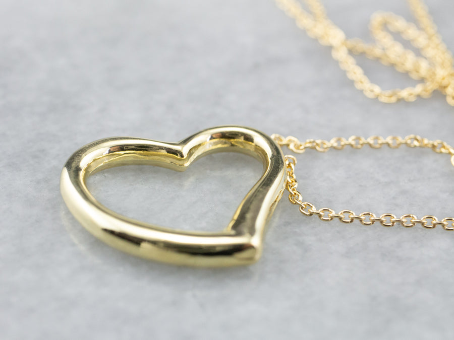Yellow Gold Open Heart Necklace