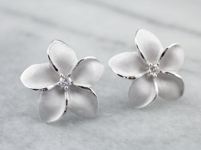 Floral Diamond and Enamel Stud Earrings