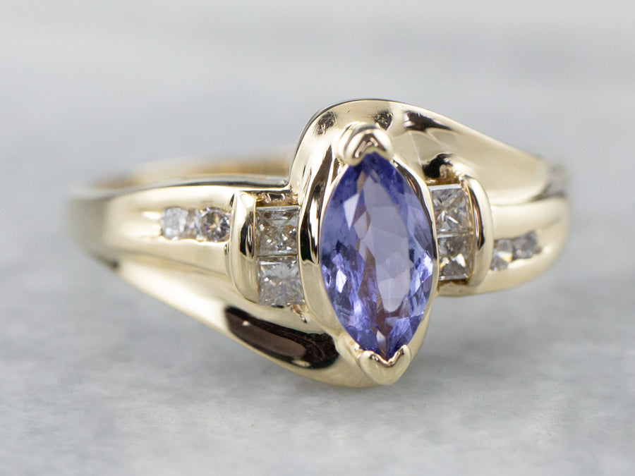 Marquise Tanzanite and Diamond Ring
