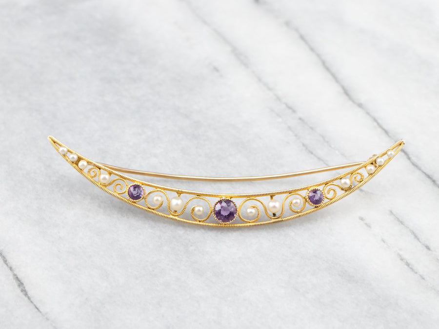 Amethyst and Pearl Crescent Moon Brooch