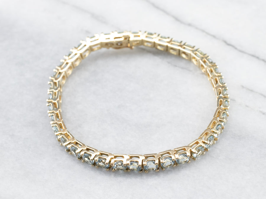 Yellow Gold Aquamarine Tennis Bracelet