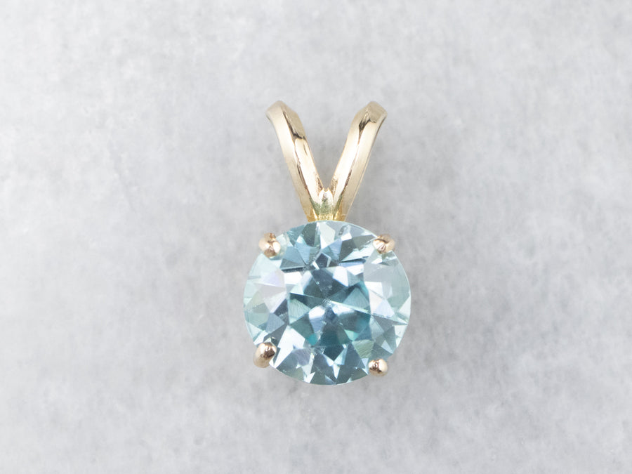 Yellow Gold Blue Zircon Solitaire Pendant