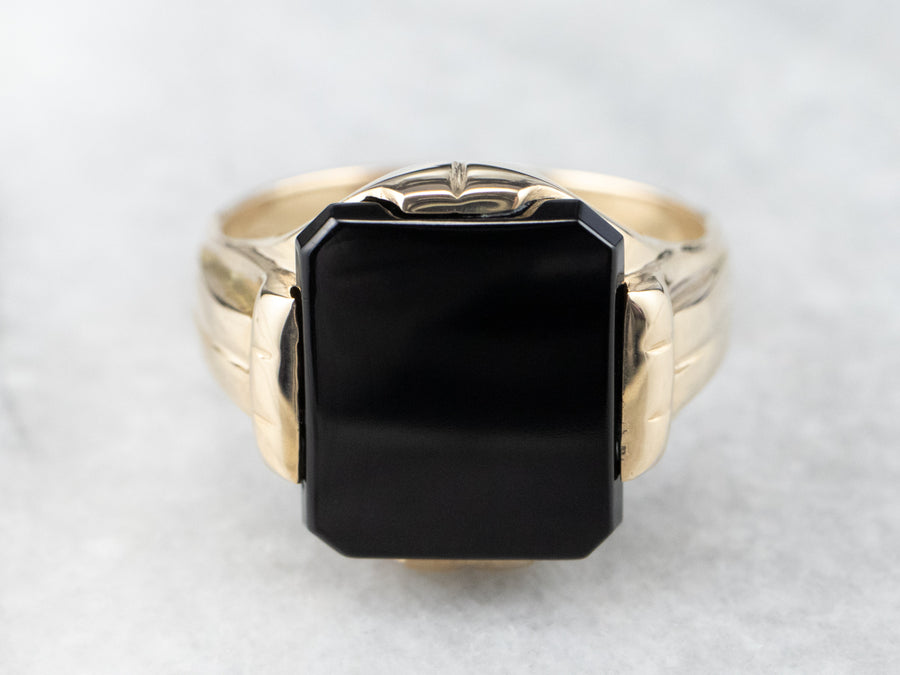 Gold Retro Era Men's Onyx Ring