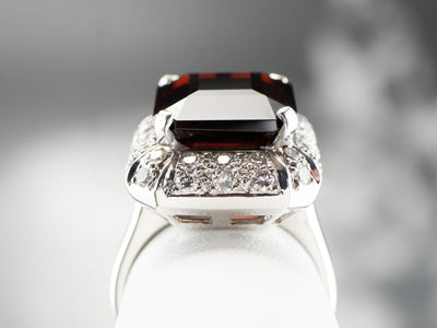Garnet and Diamond Halo Cocktail Ring
