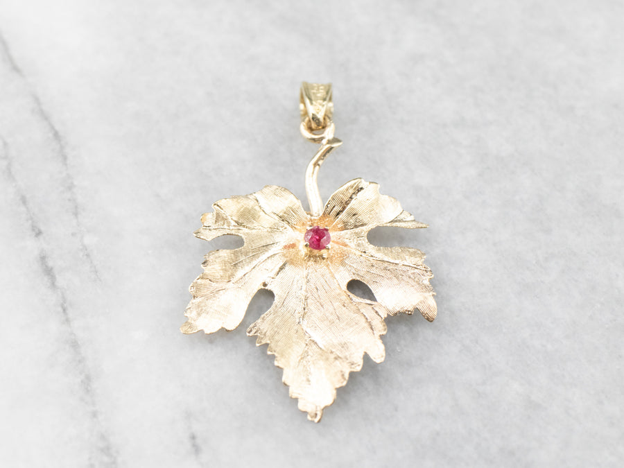 Yellow Gold Ruby Grape Leaf Pendant