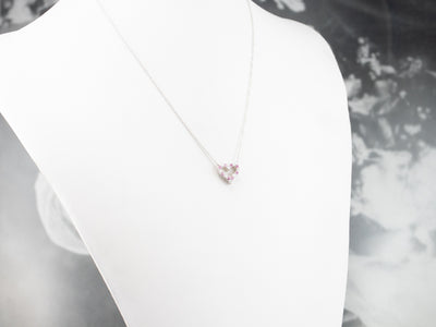 Tiffany & Co. Pink Sapphire and Diamond Heart Necklace