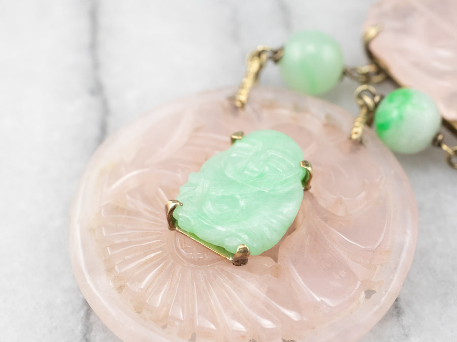 Jadeite Buddha and Rose Quartz Necklace