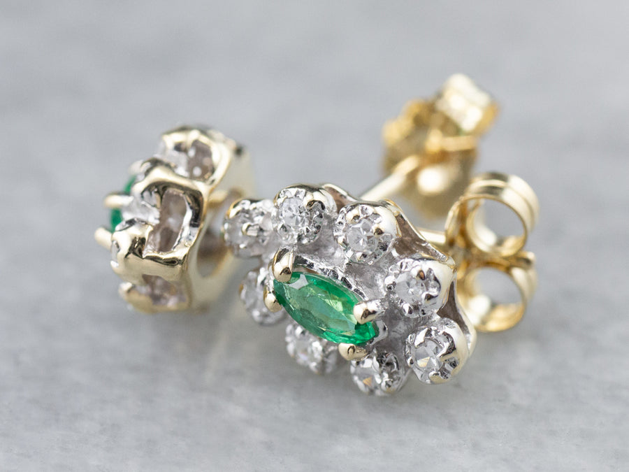 Marquise Emerald Diamond Halo Gold Stud Earrings